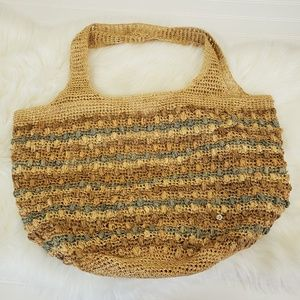 Flora Bella Crochet Rafia Tote Handbag